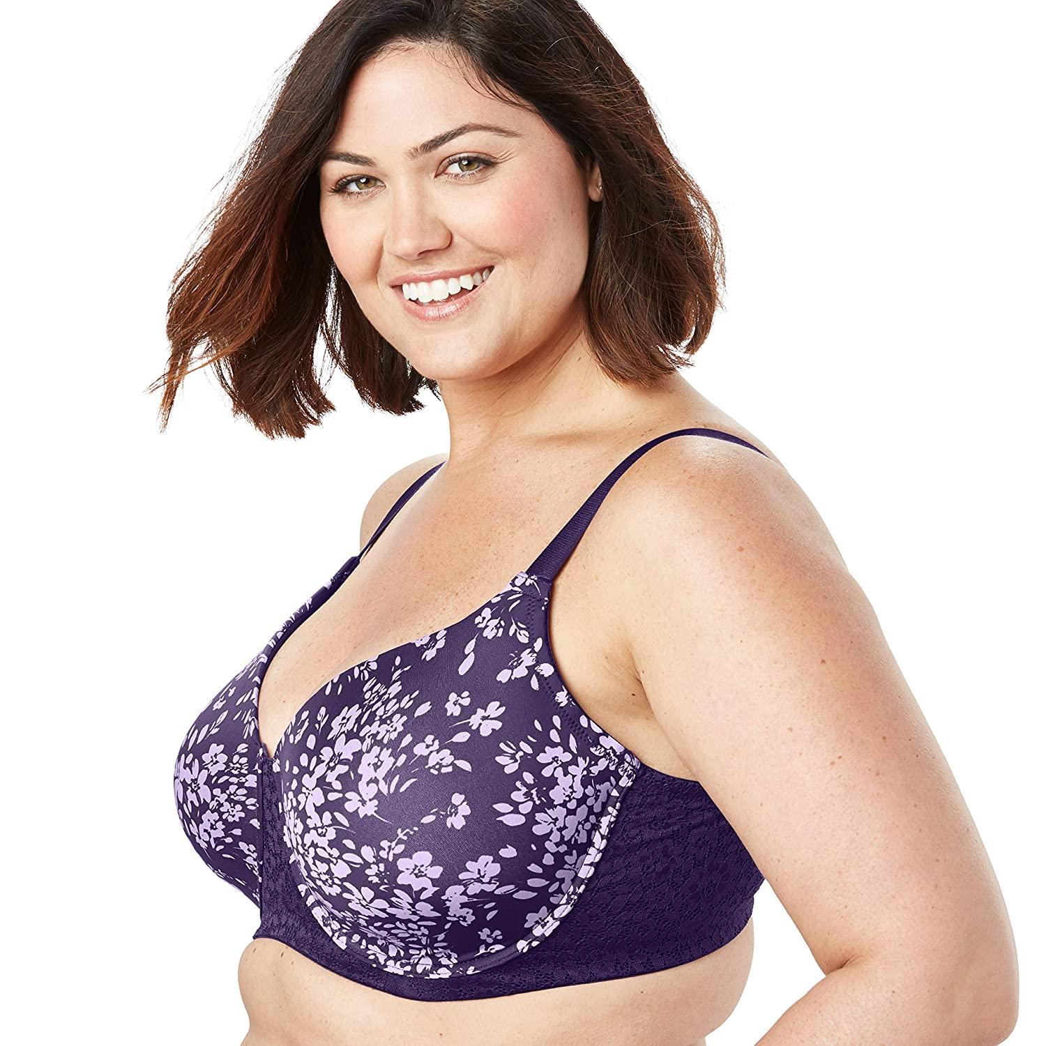 Comfort Choice Womens Plus Size Full Coverage Lace-Trim Underwire T-Shirt Bra