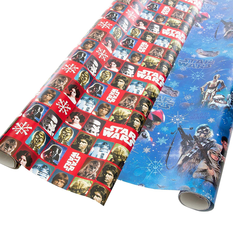 Motive verschiedene Designs 100734WU Weihnachtsgeschenkpapier auch sch/ön als Ganzjahresgeschenkpapier 4 Rollen Star Wars Geschenkpapier 200 x 70 cm