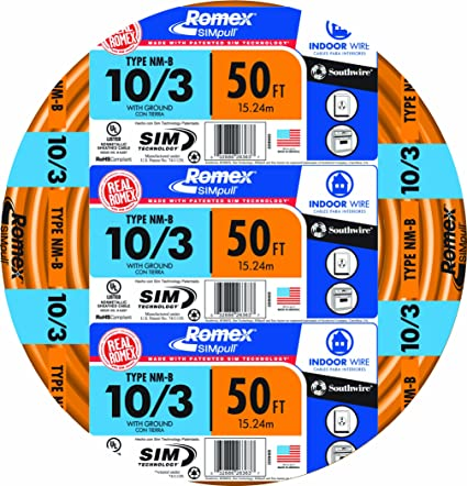 Southwire 63948422 50\' 10/3 with ground Romex brand SIMpull ...