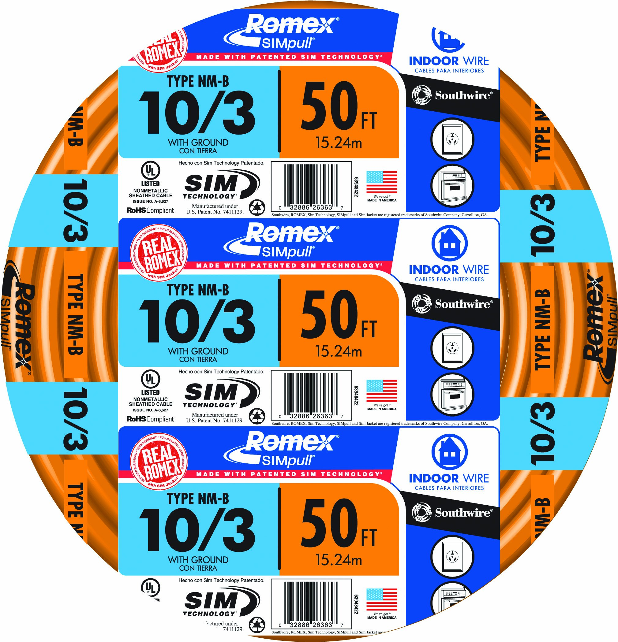 Romex 50 ft, 10/3, 10-3 guage soild indoor wire, simpull electrical ...