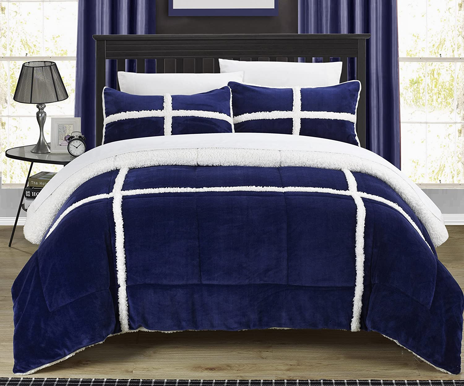 Chic Home 3 Piece Chloe Sherpa Comforter Set, King, Navy