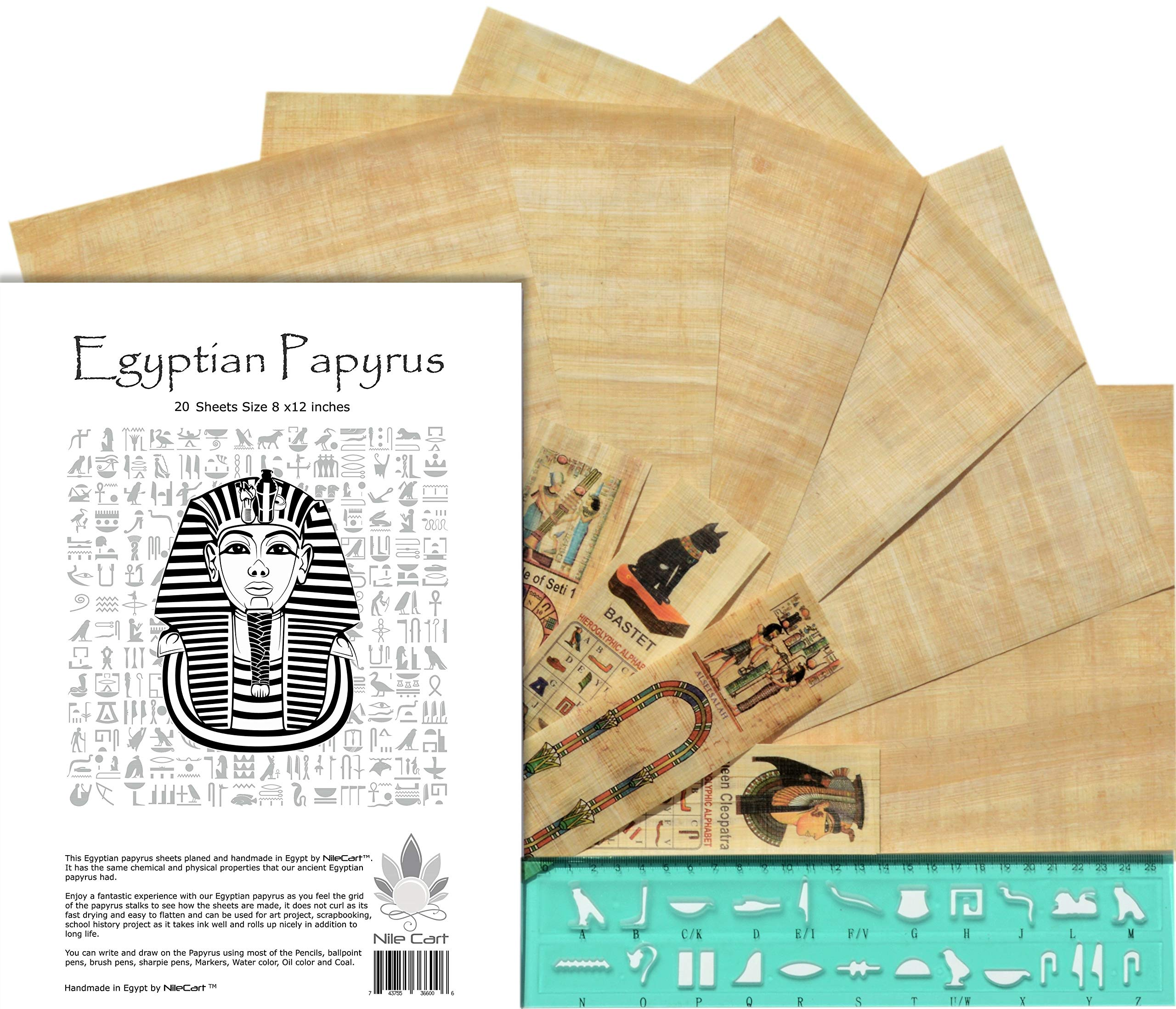NileCart Egyptian Papyrus Blank Sheets 8 x12 in with Hieroglyphic Alphabet Stencil Ruler & Bookmarks (20 Sheets) by NileCart