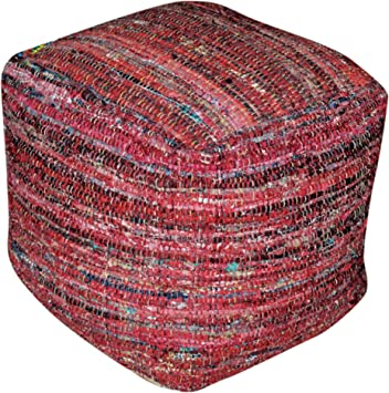 Christopher Knight Home 299655 Henrietta Red Fabric Pouf