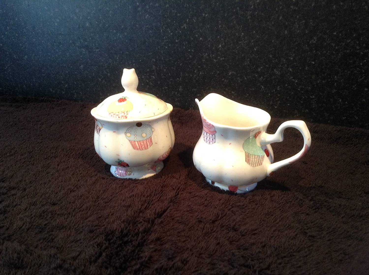 CUP CAKES SUGAR AND CREAMER FINE BONE CHINA FREE DELIVERY IN UK