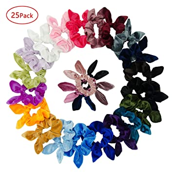 12 Pack Hair Tie Scrunchies Rabbit Bunny Ear Bow Bowknot Scrunchie Velvet Girls