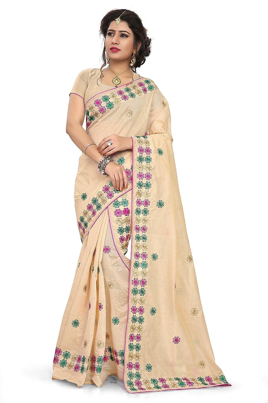 S Kiran's Women's Khadi Cotton Mekhela Chador (Chiku)