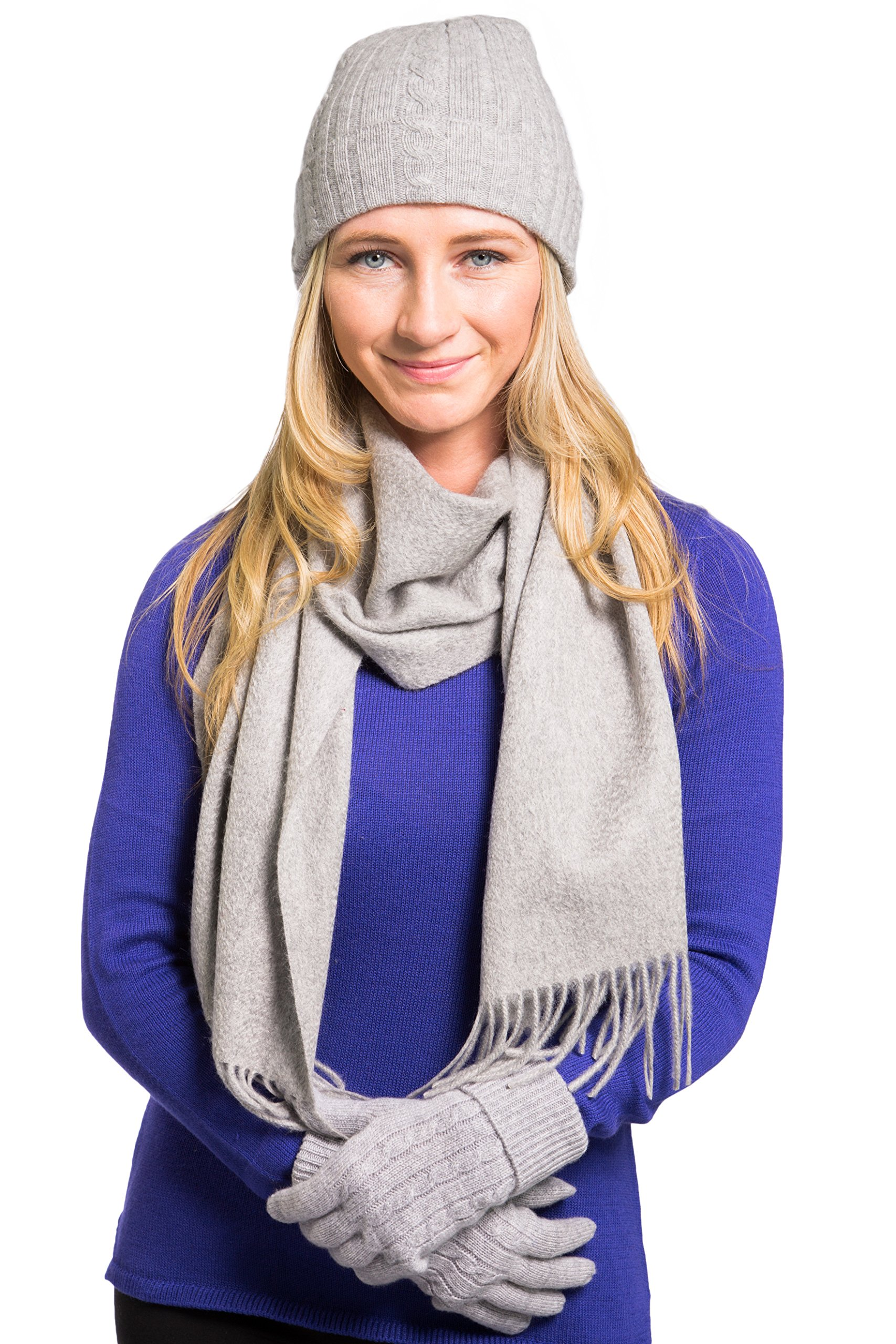 Fishers Finery Women's 100% Cashmere Hat Glove and Scarf Set; Gift Box (Gray)
