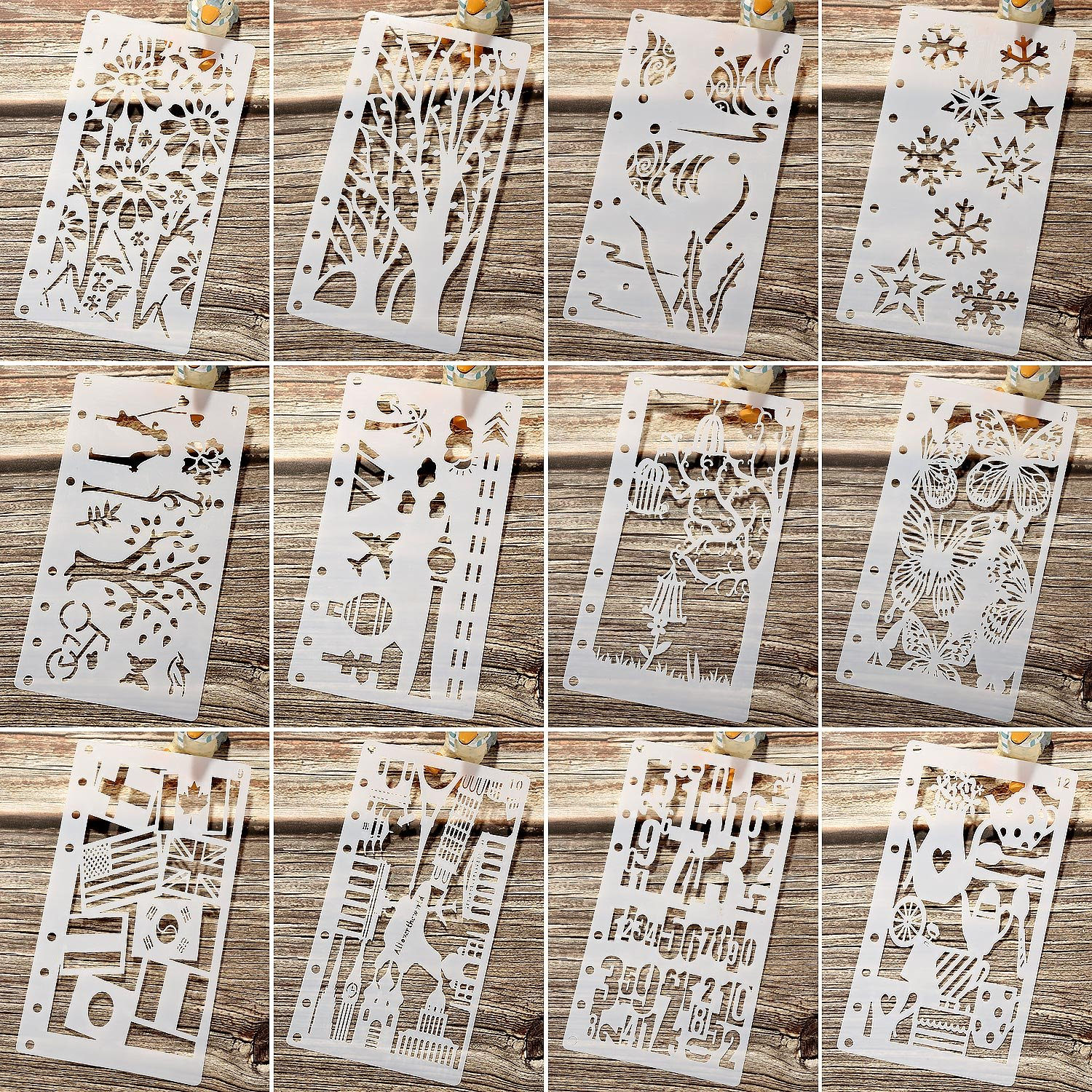 12 Pieces Drawing Loose Leaf Stencils Scale Template Sets Journal Diary Notebook 8-Ring Paper Inserts for Painting Card Craft Projects and Scrapbooking DIY Albums (Style 1)