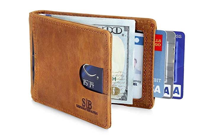 69cc297c18 SERMAN BRANDS RFID Blocking Slim Bifold Genuine Leather Minimalist Front  Pocket Wallets for Men with Money Clip