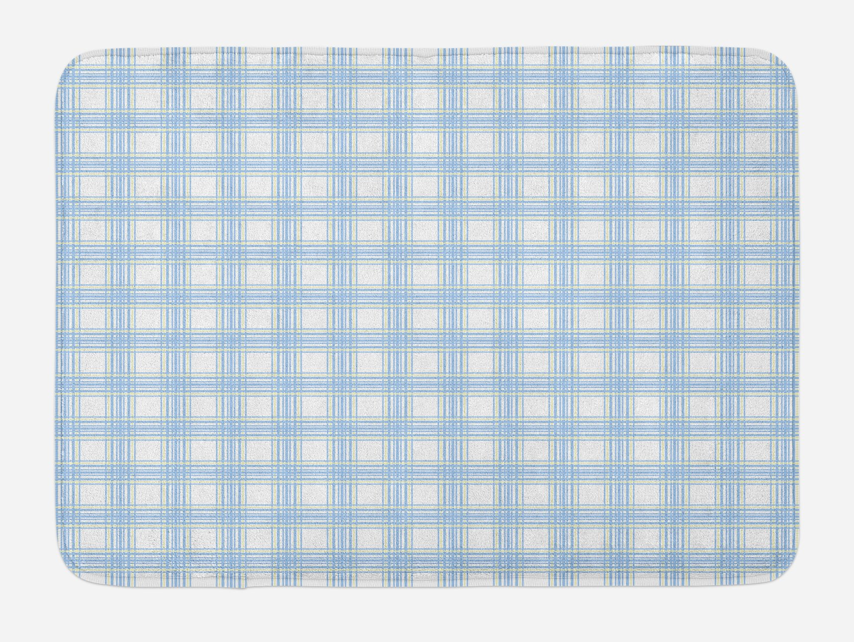 Lunarable Plaid Bath Mat, Geometrical Striped Old Fashioned Pattern in Pastel Colors Country Style, Plush Bathroom Decor Mat with Non Slip Backing, 29.5 W X 17.5 W Inches, Baby Blue Yellow White