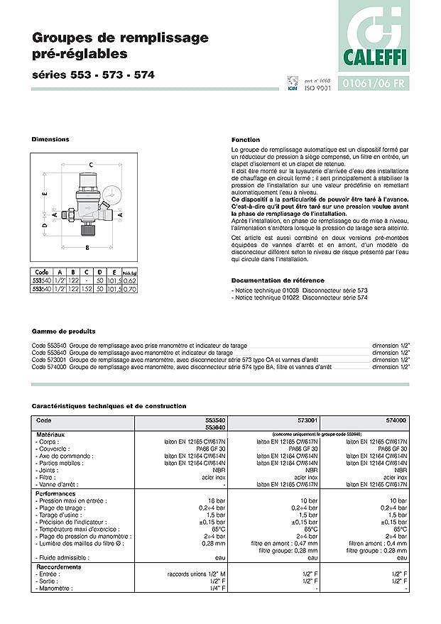 Caleffi Automatische F/üllarmatur 1//2 zoll innenliegende Voreinstellung mit Manometer 553640