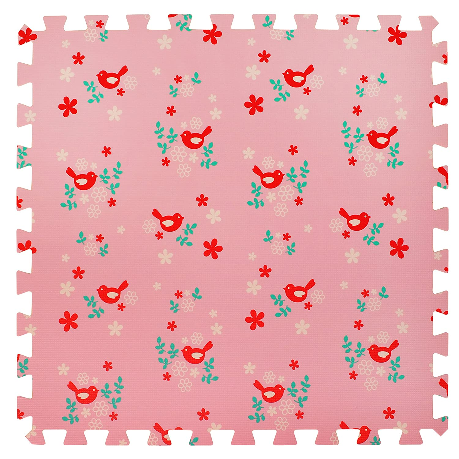 4 Large Children's Pink Foam Play Mats with Edges – 4 Large Soft Interlocking Floor Mats with Bird Pattern for Children. Each tile is 60 x 60cms = 1.2m2 For the Love of Leisure