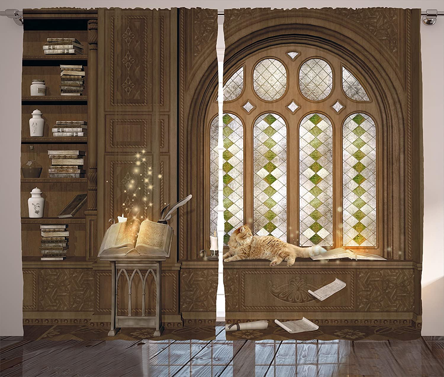 Ambesonne Gothic Decor Curtains, Room for Study in Medieval Library with Cat Sleeping on Window Antique Mansion, Living Room Bedroom Window Drapes 2 Panel Set, 108 W X 84 L Inches, Taupe