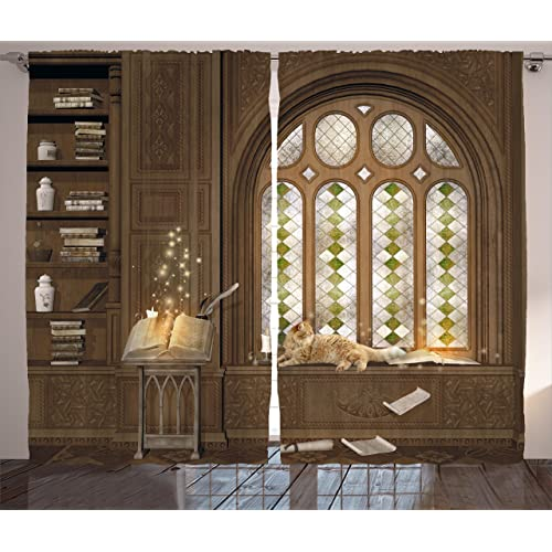 gothic living room luxury ambesonne gothic decor curtains room for study in medieval library with cat sleeping on window curtains living room amazoncom