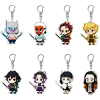 VERSRH 8PCS Demon Slayer Keychain, Hanging with Rotatable Alloy Metal Ring, Anime Keychain for Kids, Anime Figure…