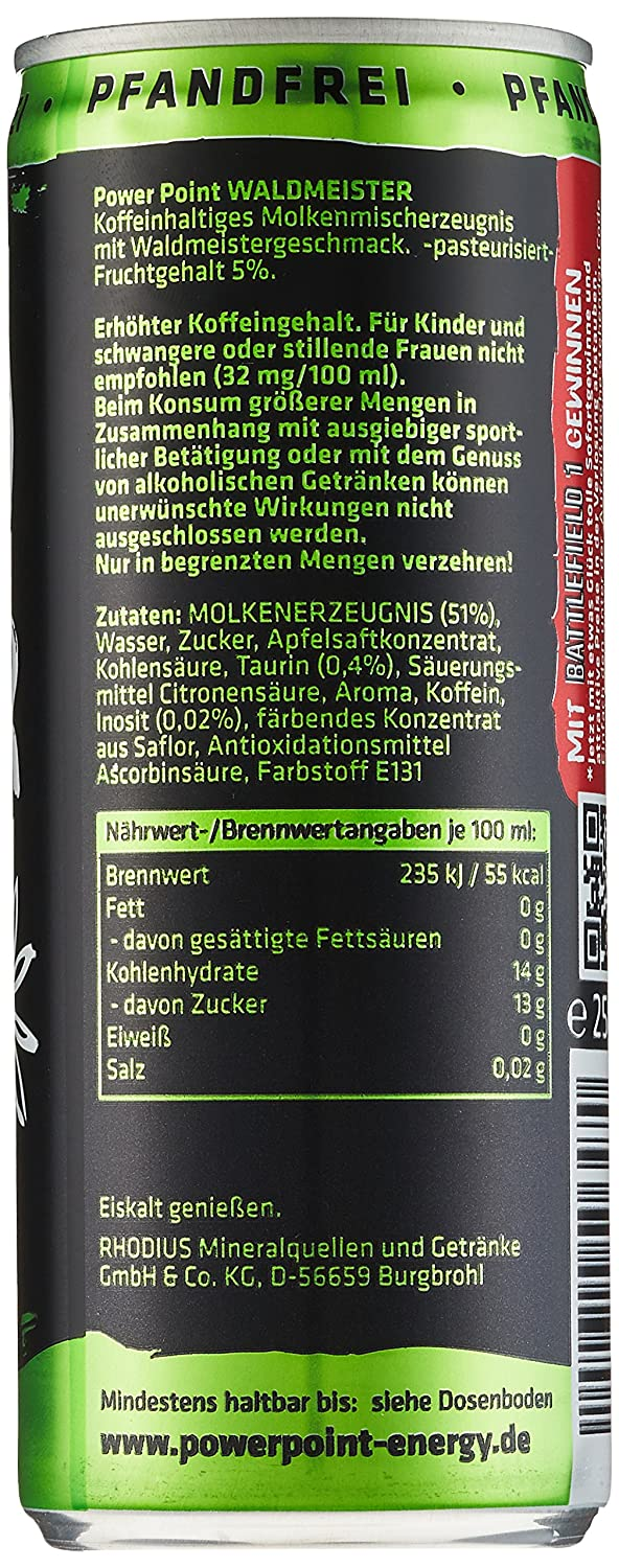 Power Point Energy Drink Waldmeister, 24er Pack (24 x 250 ml ...