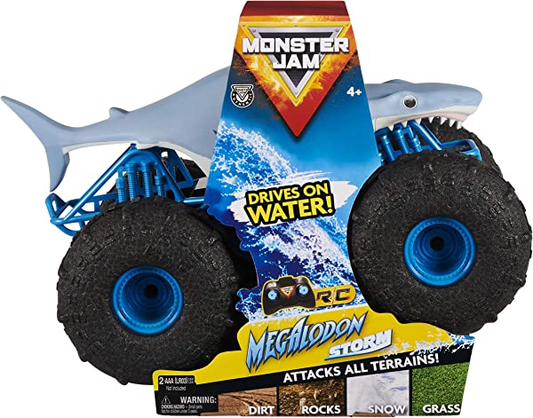 Monster Jam Megalodon Storm All-Terrain Remote Control Monster Truck toy for kids in package