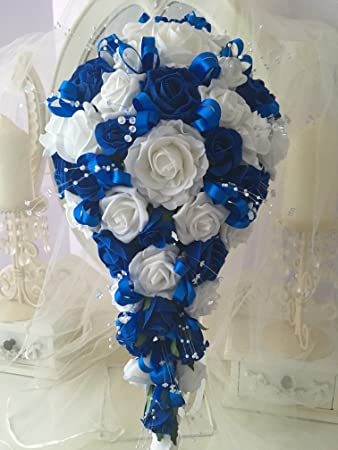 Wedding flowers brides teardrop bouquet in royal blue and white wedding flowers brides teardrop bouquet in royal blue and white mightylinksfo