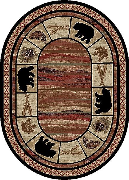 Amazon Com Rustic Lodge Bear Cabin 8x10 Oval Area Rug 7 10 X9 10