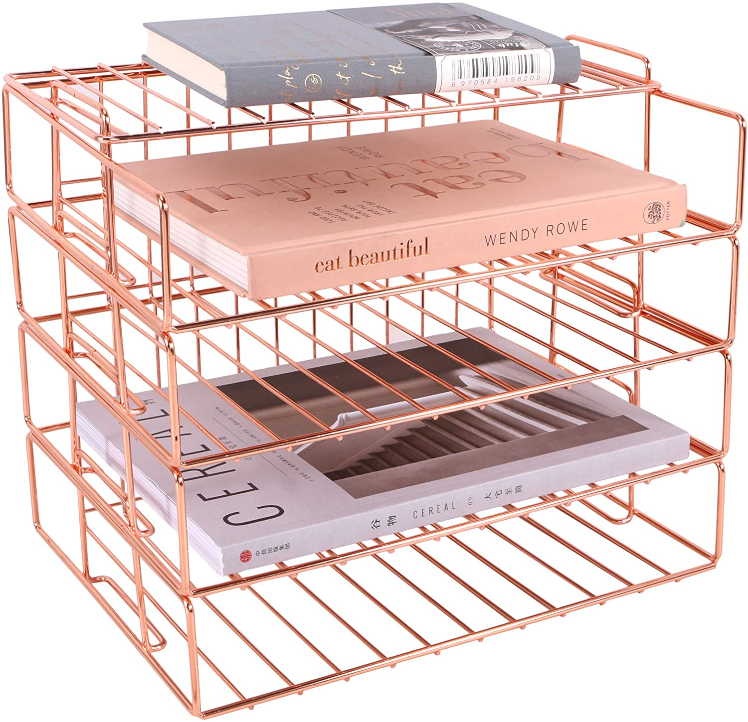 Hosaken Paper Tray, 4 Tier Stackable Letter Tray, Decorative Desk File Organizer Rack for Office Supplies and Accessories, Letter Size, Rose Gold