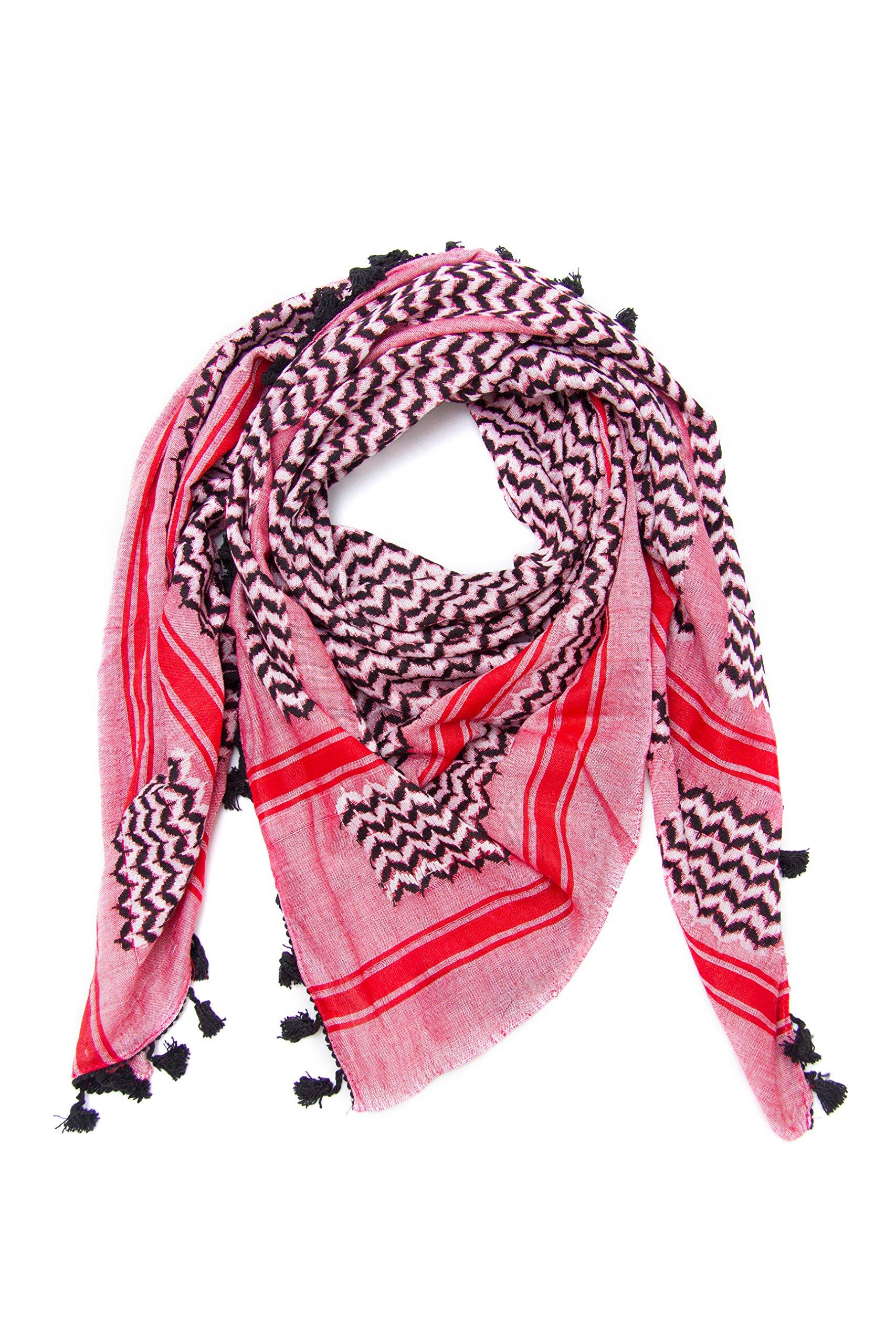 Hirbawi Premium Arabic Scarf 100% Cotton Shemagh Keffiyeh 47''x47'' Arab Scarf (Pink Zahra) Made in Palestine