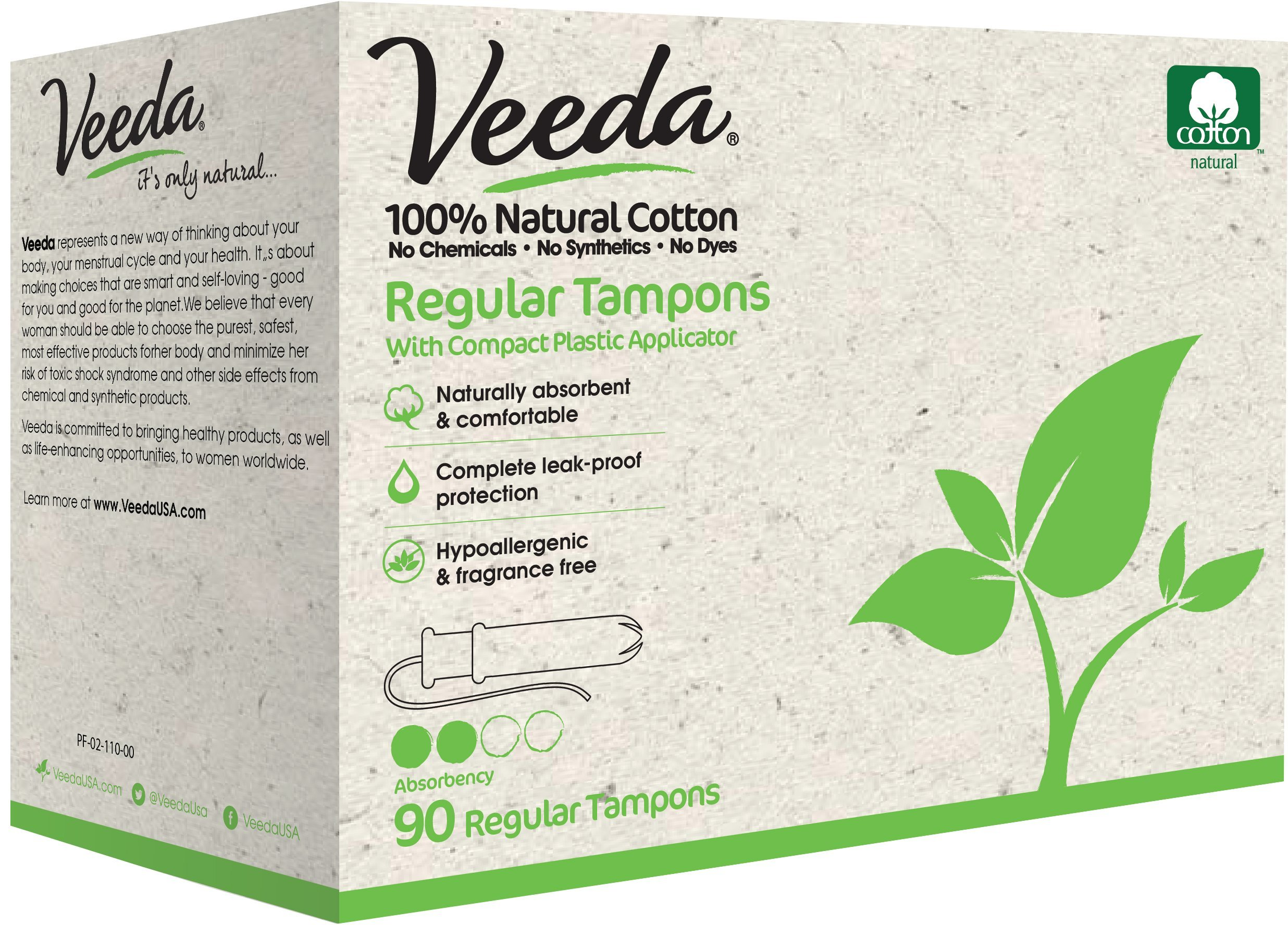 Veeda Natural All-Cotton Tampons, Regular, 90 Count by Veeda