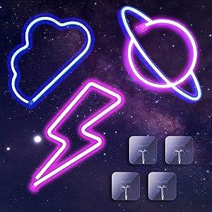 Neon Lights for Wall Decor LED Neon Night Lights, Neon Signs for Home Decor Lights Indoor, LED Decorative Lights Neon Wall Lights for Home, Bedroom, Bar, Wedding, Birthday, Party, College Dorm 3PK