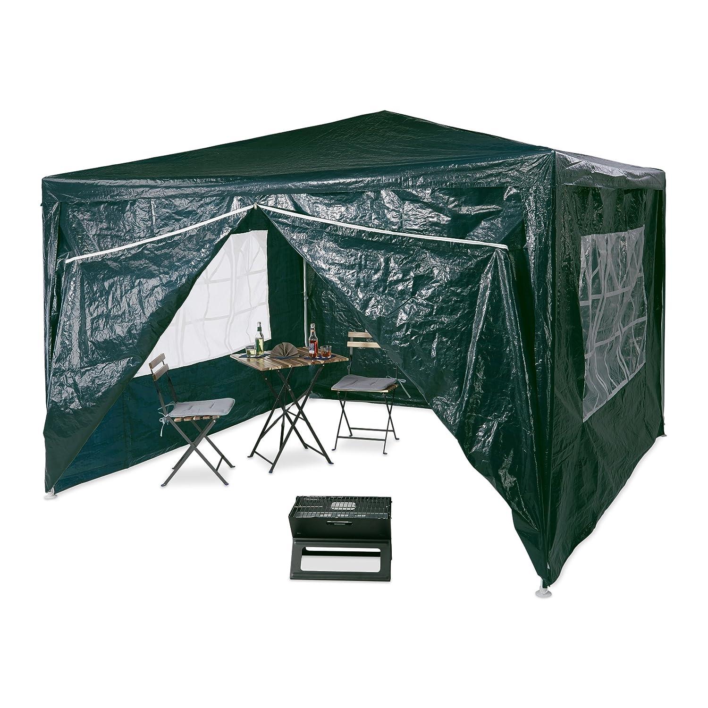 Détails sur Relaxdays 10020812 Tonnelle pergola 3x3 m , 4 côtés cadre métal  PE tente de...