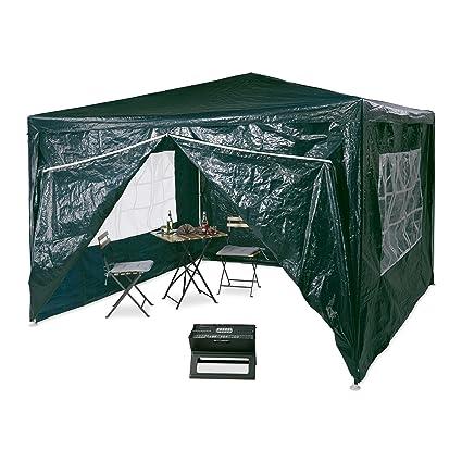 PE Metall Festival Garten Party Zelt Relaxdays Pavillon 3x3 m 2 Seitenteile