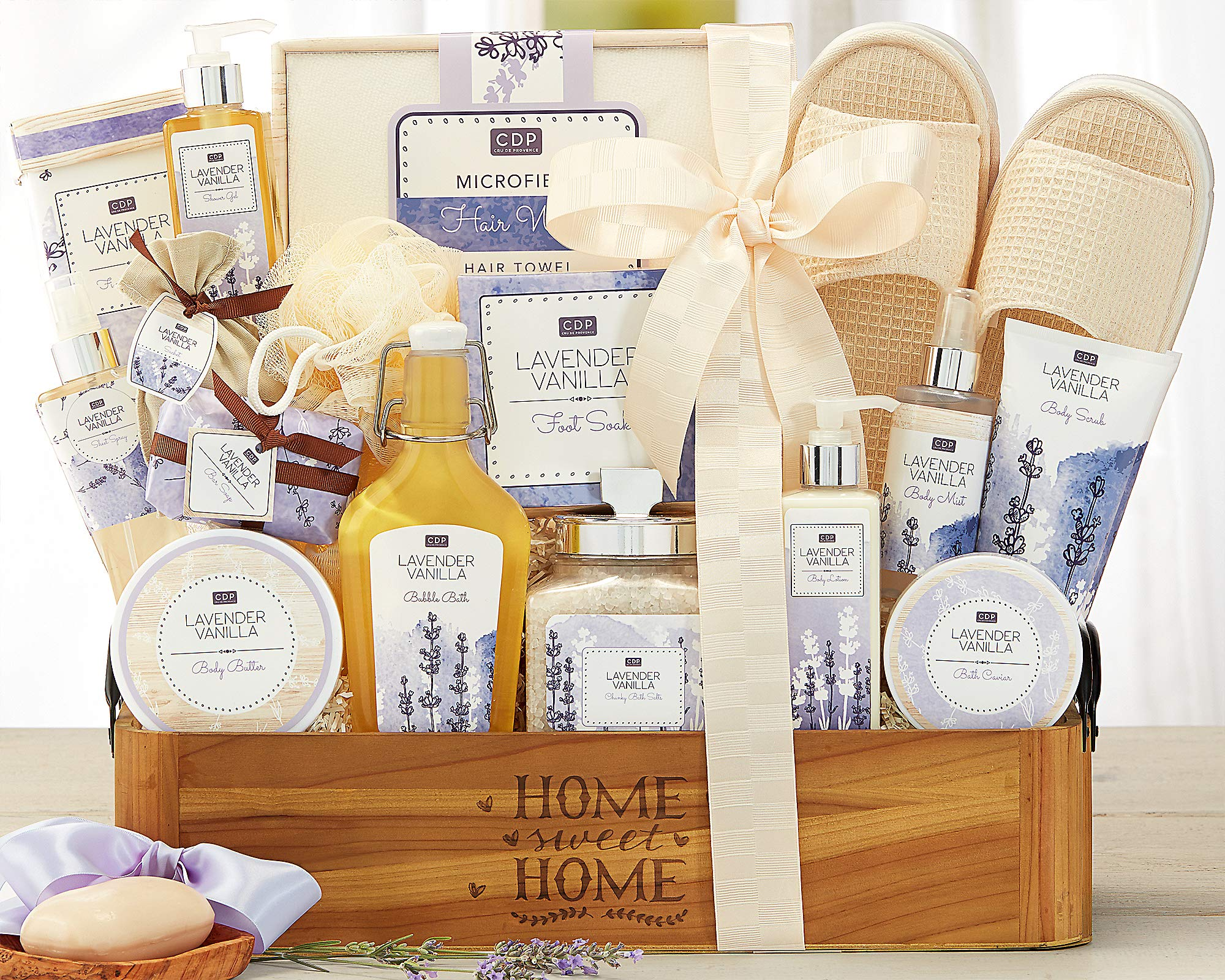 Lavender Vanilla Spa Experience Gift Basket Spa Gift Contains Bath Salts, Bath Caviar, Body Lotion, Body Scrub, Body Butter, Shower Gel, Bar Soap, Body Scrub and More ! by Wine Country Gift Baskets (Image #2)