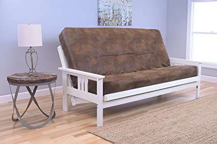 Beau Mission Style Wood Frame Antique White Futon Convertible Full Size  Innerspring Mattress With Cover Use