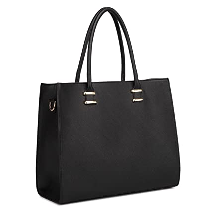 6a307361ef47 Buy Miss Lulu Women Adjustable Designer Shoulder Handbags Ladies A4 Size  Laptop Large Faux Leather Tote Bags - 1509 Black Online at Low Prices in  India ...
