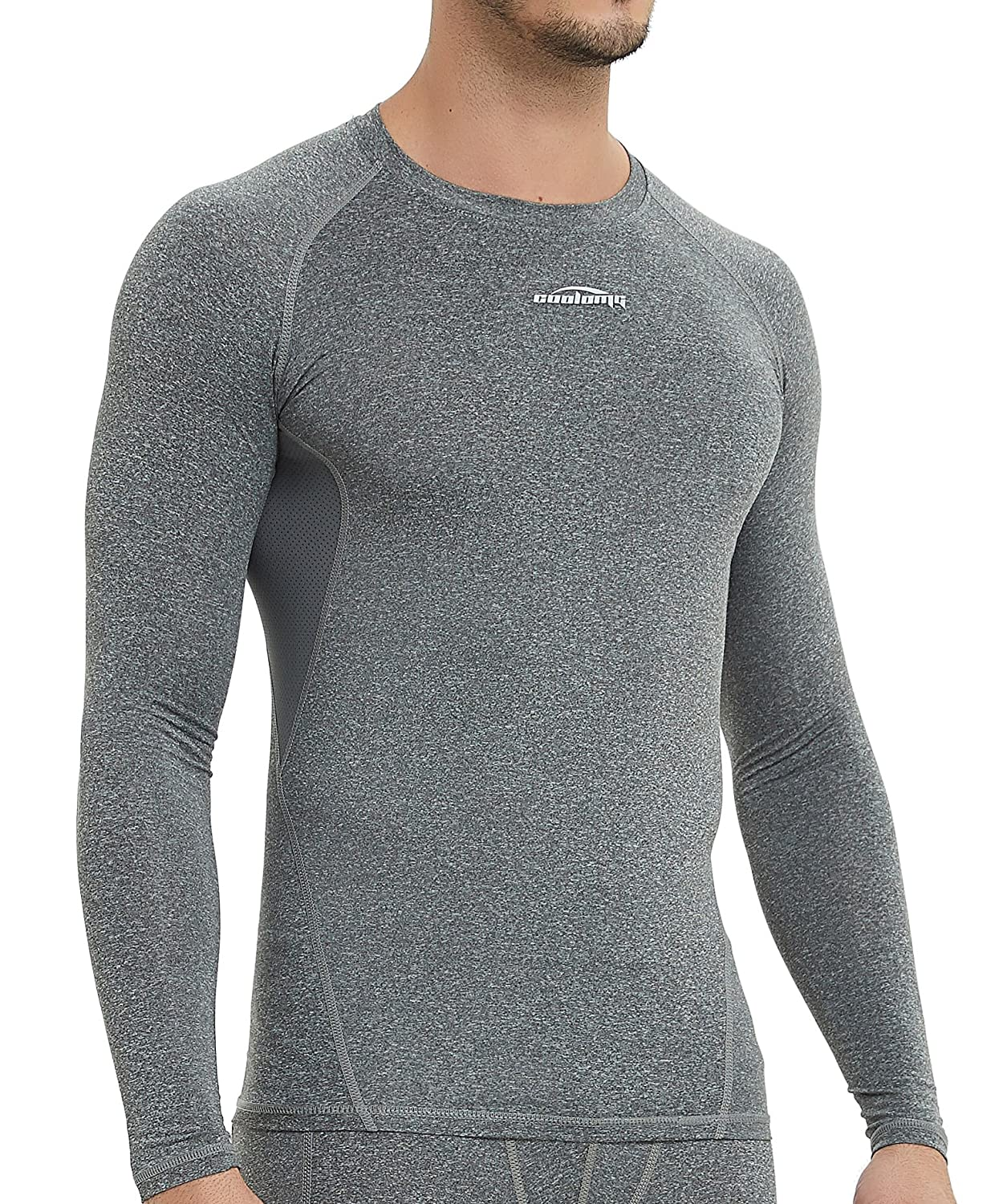 COOLOMG Men's Cool Dry Fit Long Sleeve T-Shirt Baselayer Top Compression Shirt