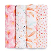 aden + anais Classic Swaddle Baby Blanket, 100% Cotton Muslin, Large 47 X 47 inch, 4 Pack, Pink Floral, Petal Blooms