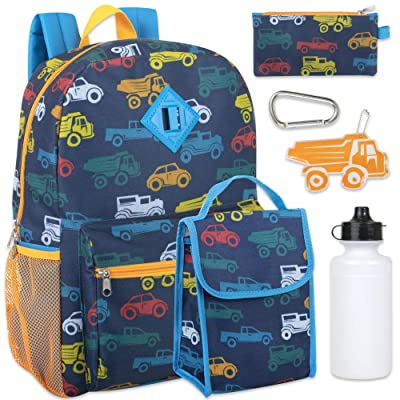 Boy's 6 in 1 Backpack Set With Lunch Bag, Pencil Case, Bottle, Keychain, Clip (Cars) | Kids' Backpacks