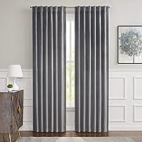Central Park Dark Grey Velvet Window Curtain Room Darkening 90% Blackout Panels Rod Pocket Back Tab Geometric Embossed…