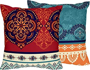 Boho Mandala Bohemian Chic Square Accent Decorative Couch set of 2 18x18 Throw Pillow Cover Case Indian Tapestry Turquoise Hipster Hippie Patterned Retro Ethnic Vintage Colorful Teal Blue Red Orange