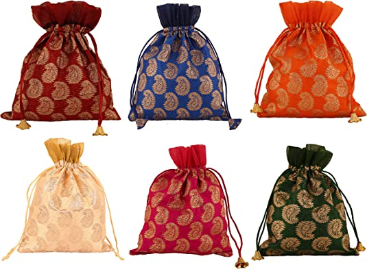 Victorian Purses, Bags, Handbags Touchstone Gorgeous Indian Traditional Indian Heritage Print/Paisley Brocade Large Drawstring Purse Bag Pouch Potli for Gift Wedding Jewelry Packaging Bridal Party Favors Assorted Colors for Women $14.99 AT vintagedancer.com