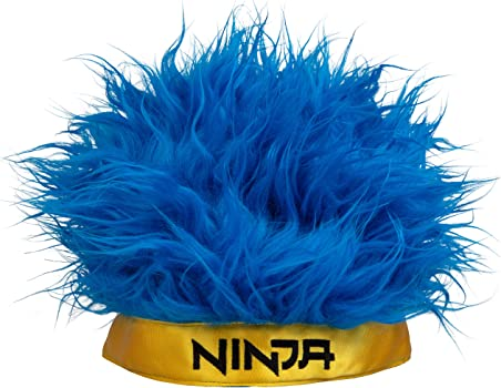 Ninja Gamer Wig - Blue Hair with Yellow Ninja Headband - Richard Tyler Blevins Halloween Costume - One Size Fits Most - 6+
