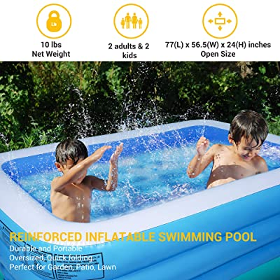 Inflatable Swimming Pool 115 X 63 X 18 Thickened Family Lounge Blow Up Pools Suitable Kids and Adult in Summer Water Party