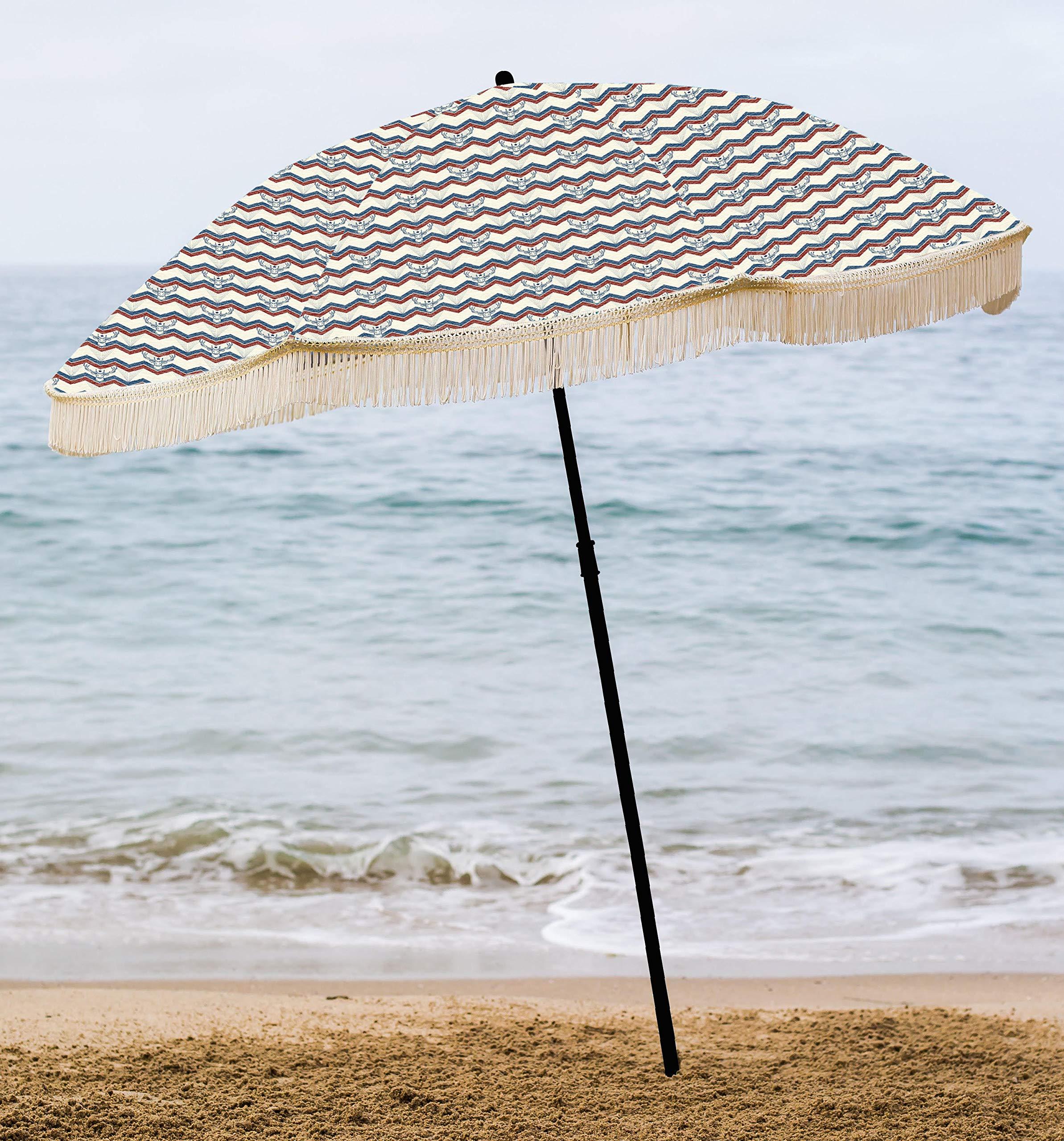 0e660a154f beachBRELLA Beach Umbrella, with Fringe and Shoulder Strap Bag, 100 ...