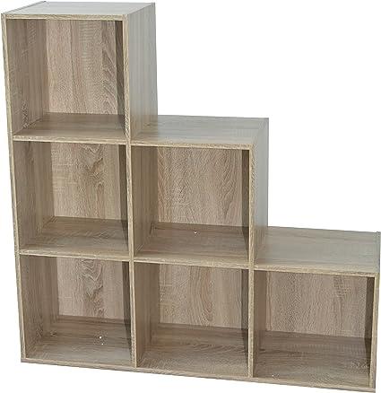 Alsapan Compo Meuble De Rangement 6 Casiers En Escalier Bibliotheque Etageres Cubes Chene 93 X 30 X 94 Cm Amazon Fr Cuisine Maison