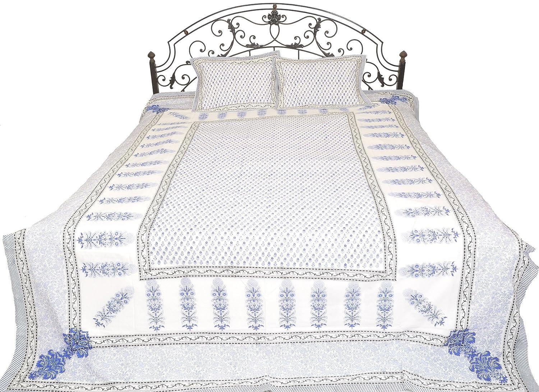 ピュアコットン枕カバー ブルー ft – 7.0 SYH95--blue ft ブルー x 8.8 B01GOLRSP8 ブルー bright-whiteフローラル印刷染めBedsheet