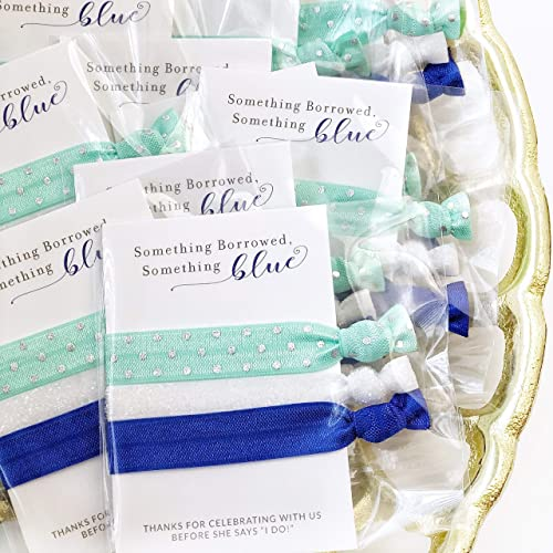 something blue bridal shower and bachelorette party favors hair ties 5 pack