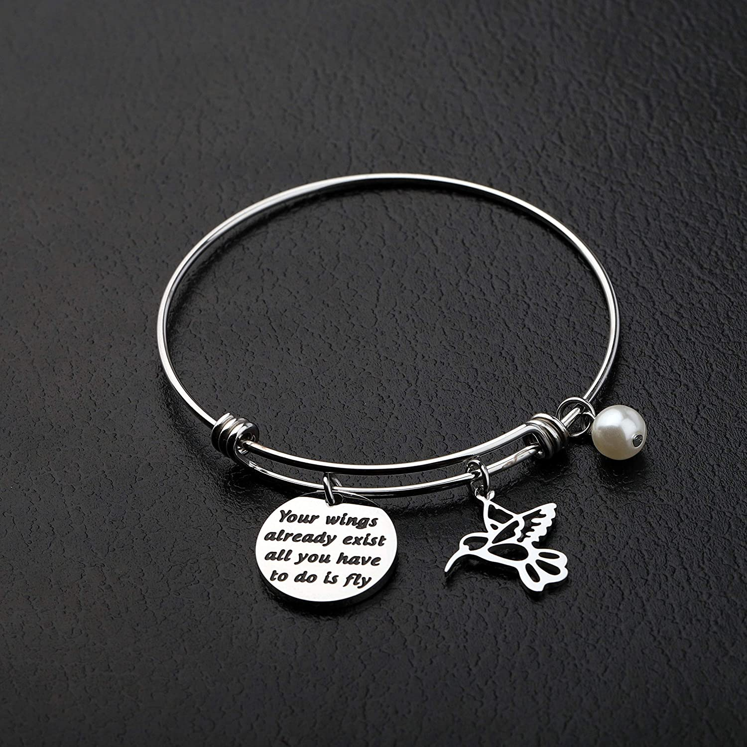 Inspirational Bracelets Your Wings Already Exist All You Have to do is Fly Hummingbird Charm Bangle Bracelet