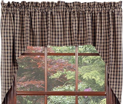 Window Curtain Swags Cambridge Black Window Treatments Unlined 100 Cotton 72 x36 IHF Home Decor