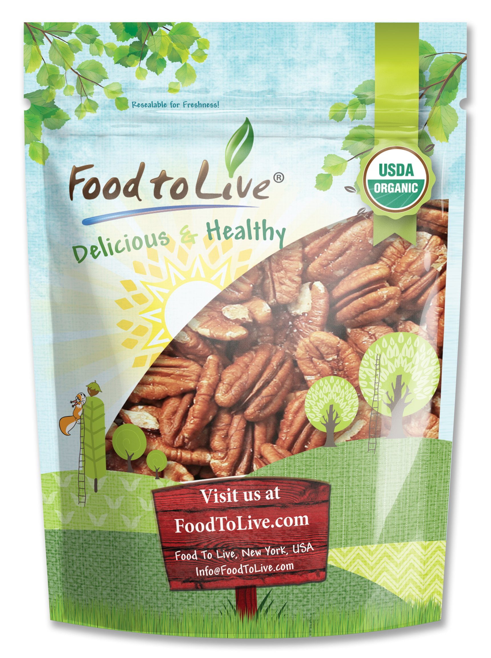 Organic Pecans, 1.5 Pounds - Non-GMO, Kosher, Raw, Vegan, No Shell by Food to Live