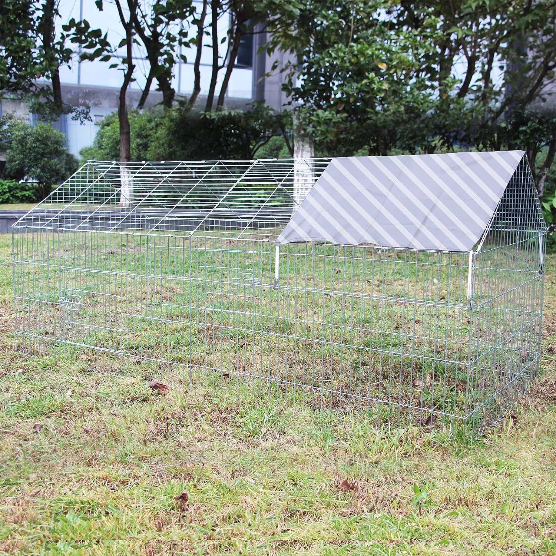 WilTec Enclos Lapin Parc Ouvert Cage à Lapin Lièvre Clapier Activité extérieure