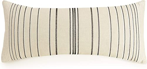 Ayesha Curry Natural Instincts Double Cloth Decorative Pillow, Stripe 12X26 , Linen