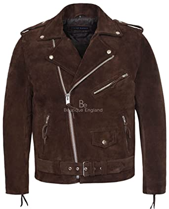 c692e6b1d0c8 Smart Range Brando Brown Cowhide Suede Men's Classic Motorcycle Biker Real  Leather Jacket ...
